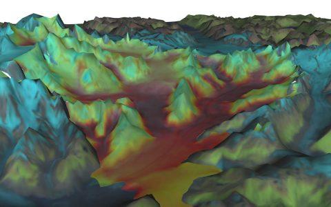 A simulation by VESL of Columbia Glacier, Alaska. (NASA/JPL-Caltech)