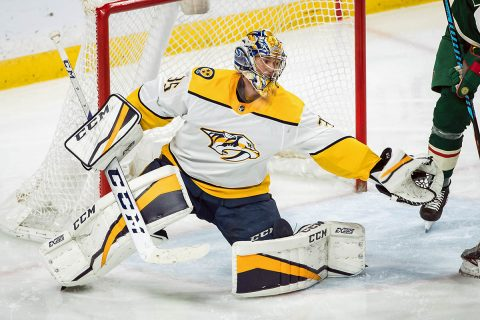 Nashville Predators goalie Pekka Rinne (35) makes a save during the third period against the Minnesota Wild at Xcel Energy Center. (Brace Hemmelgarn-USA TODAY Sports)