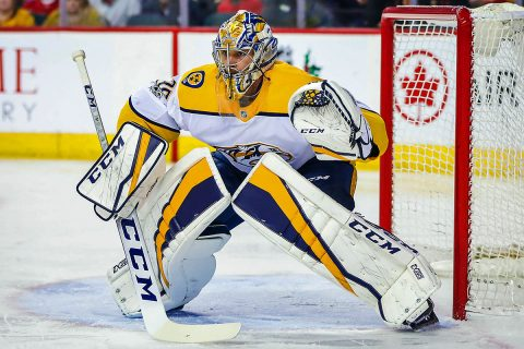 Nashville Predators goalie Pekka Rinne (35) watches the puck against the Calgary Flames during the first period at Scotiabank Saddledome. (Sergei Belski-USA TODAY Sports)