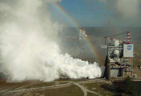 NASA engineers conducted their first RS-25 test of 2017 on the A-1 Test Stand at Stennis Space Center near Bay St. Louis, Mississippi, on Feb. 22, 2017. (NASA/KSC Unmanned Aerial Systems Team)