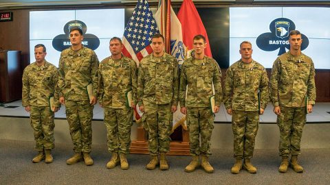 Six Soldiers from 1st Brigade Combat Team, 101st Airborne Division (Air Assault), received the Soldier's Medal, Nov. 28, during a ceremony held at the 101st ABN DIV (AASLT) headquarters. The Soldiers earned the highest peacetime award for valor for their life-saving actions following a UH-60 Blackhawk helicopter crash, Jan. 31. (Spc. Patrick Kirby, 40th Public Affairs Detachment)