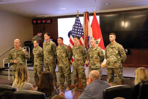 Col. Derek Thomson, 1st Brigade Combat Team, 101st Airborne Division (Air Assault) commander, introduces six Soldiers, before they received the Soldier's Medal, at the 101st ABN DIV (AASLT) headquarters, Nov. 28. (Staff Sgt. Todd Pouliot, 40th Public Affairs Detachment)