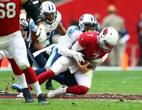 Arizona Cardinals quarterback Blaine Gabbert (7) is sacked by Tennessee Titans safety Johnathan Cyprien (37) in the first quarter at University of Phoenix Stadium. (Mark J. Rebilas-USA TODAY Sports)