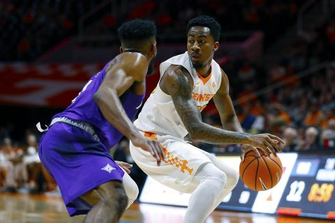 Guard Jordan Bowden #23 of the Tennessee Volunteers during the game between the Furman Paladins and the Tennessee Volunteers at Thompson-Boling Arena in Knoxville, TN. (Kyle Zedaker/Tennessee Athletics)