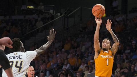 Tennessee Men's Basketball rally late to beat Georgia Tech 77-70 Sunday night at McCamish Pavilion. (Tennessee Athletics)