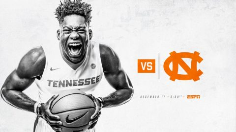 #20 Tennessee Men's Basketball set to take on #7 North Carolina at Thompson-Boling Arena Sunday, December 17th. (Tennessee Athletics)