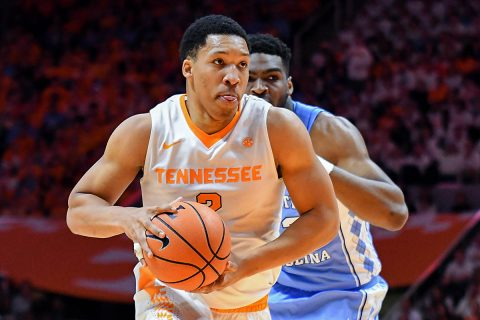 Tennessee Volunteers forward Grant Williams (2) moves the ball against North Carolina Tar Heels forward Brandon Huffman (42) during the first half at Thompson-Boling Arena. (Randy Sartin-USA TODAY Sports)