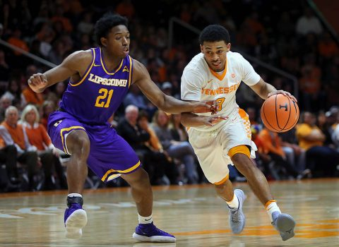 Tennessee Volunteers guard James Daniel III (3) drives the ball down the court beside Lipscomb Bisons guard Kenny Cooper (21) in the first half at Thompson-Boling Arena. (Crystal LoGiudice-USA TODAY Sports)