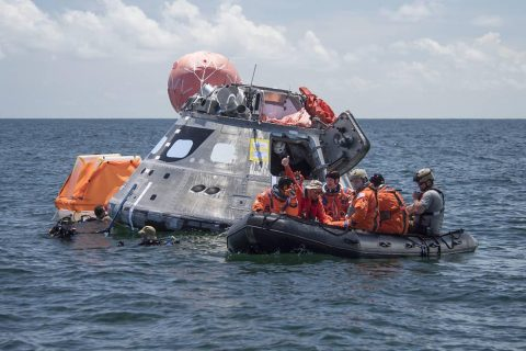 Using the waters off the coast of Galveston, Texas, a NASA and Department of Defense team tested Orion exit procedures in a variety of scenarios July 10-14. (NASA)
