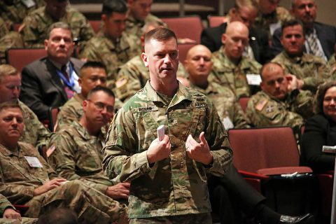 Brig Gen. Todd Royar, deputy commander for support of the 101st Airborne Division (Air Assault) at Fort Campbell, KY, encourages aviators attending the Aviation and Missile Command's AMCOM 101 for Aviation to ensure readiness of their units by providing concerns to their higher command. Royar served as AMCOM's chief of staff prior to his promotion and assignment to the 101st in the spring of 2017. (Traci Boutwell)