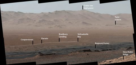 "A viewpoint on ""Vera Rubin Ridge"" provided NASA's Curiosity Mars rover this detailed look back over the area where it began its mission inside Gale Crater, plus more-distant features of the crater. The right-eye, telephoto-lens camera of the rover's Mastcam took the component images Oct. 25, 2017. (NASA/JPL-Caltech/MSSS)"