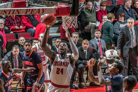 Austin Peay Men's Basketball defeats UT Martin Skyhawks 75-69 at the Dunn Center Thursday night. (APSU Sports Information)