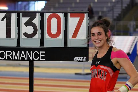 Austin Peay Track and Field junior Savannah Amato breaks APSU Pole Vault Record at Samford Open Saturday. (APSU Sports Information)