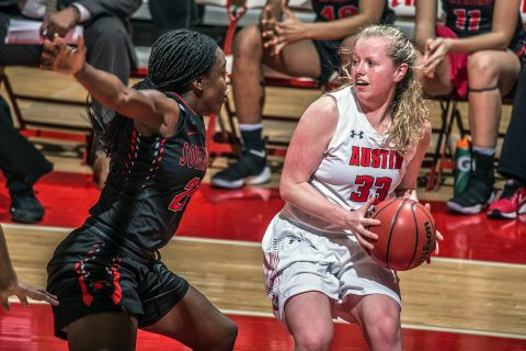 Austin Peay Women's Basketball junior guard Falon Baker leads Govs with 19 points against Southeast Missouri Saturday afternoon at the Dunn Center. (APSU Sports Information)