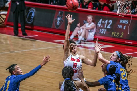Austin Peay Women's Basketball senior Brianne Alexander had 17 points and 11 rebounds in loss to Morehead State Saturday at the Dunn Center. (APSU Sports Information)