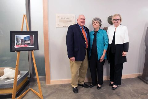 James T. and Dorothy Mann inside the APSU Department of Art + Design at the Wall of Legacy.