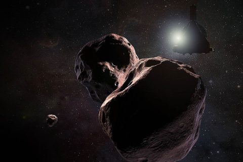 Artist's impression of NASA's New Horizons spacecraft encountering 2014 MU69, a Kuiper Belt object that orbits one billion miles (1.6 billion kilometers) beyond Pluto, on Jan. 1, 2019. (NASA/JHUAPL/SwRI/Steve Gribben)