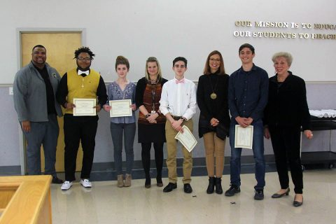 CMCSS students representing Tennessee as nominees for the National U.S. Presidential Scholars Program with Principals Marcus Heaston and Theresa Muckleroy, Assistant Principal Mandy Frost and Board Member Margaret Pace.