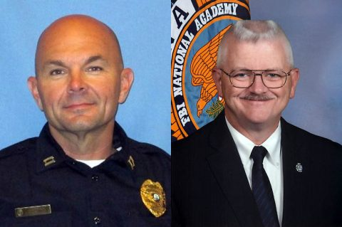 Clarksville Police (L) Captain David Crockarell and (R) Lieutenant Phil Ashby have graduated from the FBI National Academy Program.