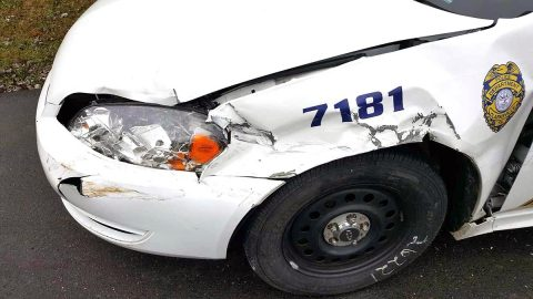 Clarksville Police Patrol Car that was hit by Herbert Clark when he fled from Police.