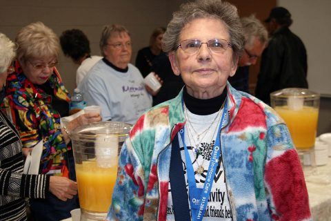 "Peggy Austin, 81, who visits the center four times a week for fitness activities, attended the ribbon cutting Wednesday. She wore a T-Shirt that said: """"Clarksville 50+ Activity Center: Where strangers become friends and friends become family."""