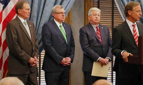 From left, Senator Speaker Pro Tempore Ferrell Haile, House Speaker Pro Tempore Curtis Johnson, Lieutenant Governor Randy McNally and Governor Bill Haslam at the Press Conference on Monday.