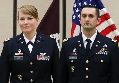 (L to R) Former flight medics, 1st Lt. Megan Smith and 1st Lt. Robert Farmer graduated from the Interservice Physician Assistant Program and was commissioned into the Medical Specialist Corps as a physician assistant during a ceremony on Fort Campbell.