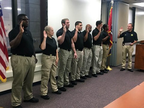 Montgomery County Sheriff John Fuson conducts swearing in ceremony for new jail deputies.