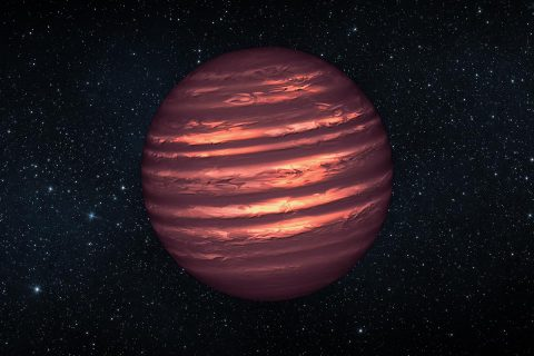 Artist's conception of a brown dwarf, featuring the cloudy atmosphere of a planet and the residual light of an almost-star. (NASA/ESA/JPL)