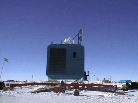 The South Pole TDRS Relay (SPTR) ground terminal was installed at the National Science Foundation's Amundsen-Scott South Pole Station in December 1997 to help connect NSF researchers and their scientific data to the rest of the world. This image shows the original SPTR system, which became operational on Jan. 9, 1998. (NASA)