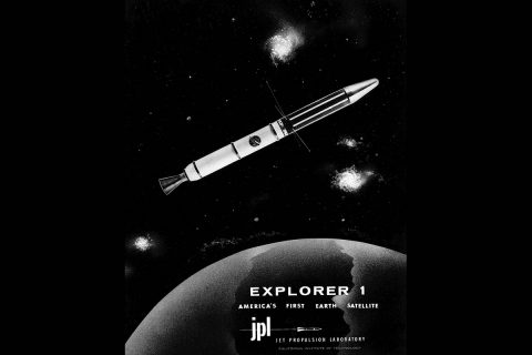 A vintage JPL graphic celebrating the Explorer 1 satellite. (NASA/JPL-Caltech)