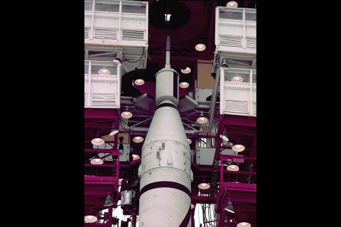 """Explorer 1 sits atop the Jupiter-C rocket (designated """"Juno-1"""") in the gantry as its launch date nears. (NASA)"""