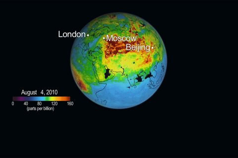 The concentration and global transport of carbon monoxide pollution from fires burning in Russia, Siberia and Canada is depicted in this NASA photo created with data from the Atmospheric Infrared Sounder (AIRS) instrument on NASA's Aqua spacecraft. (NASA)