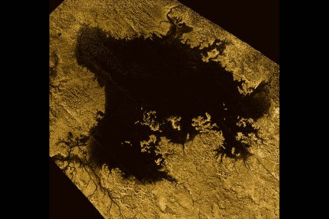Ligeia Mare, shown in here in data obtained by NASA's Cassini spacecraft, is the second largest known body of liquid on Saturn's moon Titan. It is filled with liquid hydrocarbons, such as ethane and methane, and is one of the many seas and lakes that bejewel Titan's north polar region. (NASA/JPL-Caltech/ASI/Cornell)