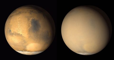 Two 2001 images from the Mars Orbiter Camera on NASA's Mars Global Surveyor orbiter show a dramatic change in the planet's appearance when haze raised by dust-storm activity in the south became globally distributed. The images were taken about a month apart. (NASA/JPL-Caltech/MSSS)