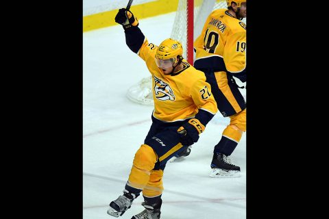 Nashville Predators left wing Kevin Fiala (22) celebrates after a goal during the second period against the Florida Panthers at Bridgestone Arena. (Christopher Hanewinckel-USA TODAY Sports)