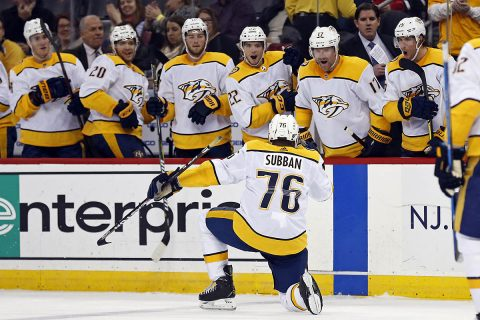 Nashville Predators defenseman P.K. Subban (76) celebrates scoring a goal against the New Jersey Devils during the second period at Prudential Center. (Adam Hunger-USA TODAY Sports)