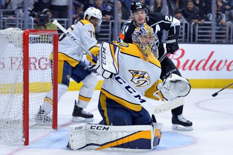 Nashville Predators goaltender Pekka Rinne (35) tracks the puck during the second period against the Los Angeles Kings at Staples Center. (Jake Roth-USA TODAY Sports)