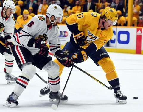 Chicago Blackhawks defenseman Michal Kempny (6) knocks the puck away from Nashville Predators left wing Scott Hartnell (17) during the first period at Bridgestone Arena. (Christopher Hanewinckel-USA TODAY Sports)