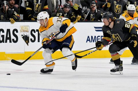 Nashville Predators left wing Viktor Arvidsson (33) is guarded by Vegas Golden Knights center Cody Eakin (21) in the second period during an NHL Hockey game at T-Mobile Arena. (Kirby Lee-USA TODAY Sports)