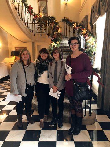 Inside the Governor's home from left: Northwest High S2S students Margo Overstreet, LeAnne Davis, Evalyn Spillane, Margo Overstreet