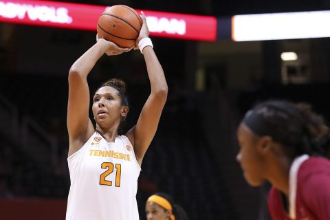Tennessee Women's Basketball senior center Mercedes Russell scored a career-high 33 points in win over Vanderbilt Commodores Saturday at Thompson-Boling Arena. (Tennessee Athletics)