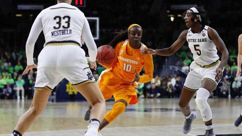 Tennessee Women's Basketball junior Meme Jackson scores 18 points in loss to Notre Dame Thursday night. (Tennessee Athletics)