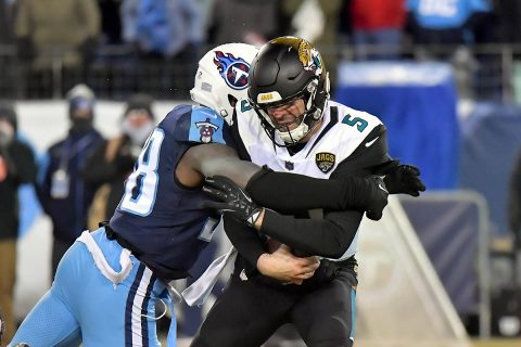 Tennessee Titans outside linebacker Brian Orakpo (98) sacks Jacksonville Jaguars quarterback Blake Bortles (5) during the second half at Nissan Stadium. Tennessee won 15-10. (Jim Brown-USA TODAY Sports)