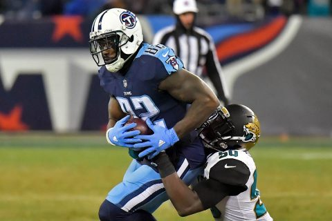 Tennessee Titans tight end Delanie Walker (82) rushes against Jacksonville Jaguars outside linebacker Telvin Smith (50) during the second half at Nissan Stadium.  (Jim Brown-USA TODAY Sports)