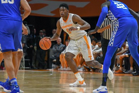Tennessee Volunteers forward Admiral Schofield (5) brings the ball up court against the Kentucky Wildcats during the first half at Thompson-Boling Arena. (Randy Sartin-USA TODAY Sports)