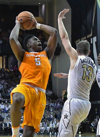 Tennessee Volunteers forward Admiral Schofield (5) shoots against Vanderbilt Commodores guard Riley LaChance (13) during the second half at Memorial Gymnasium. Tennessee won 92-84. (Jim Brown-USA TODAY Sports)