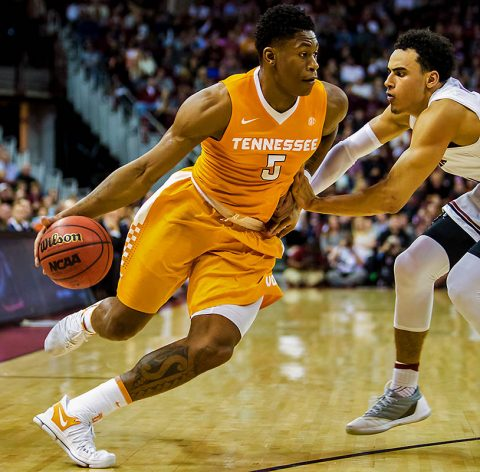 Tennessee Volunteers forward Admiral Schofield (5) drives around South Carolina Gamecocks forward Justin Minaya (10) in the first half at Colonial Life Arena. (Jeff Blake-USA TODAY Sports)