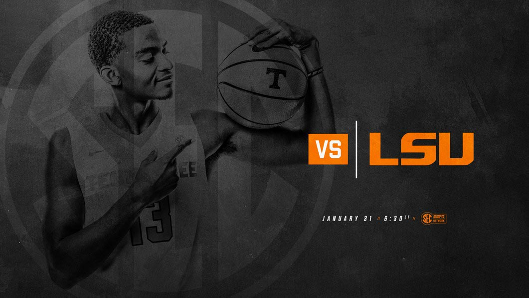 Tennessee Men's Basketball plays the LSU Tigers at home Wednesday night. Tip off is at 5:30pm CT. (Tennessee Athletics)