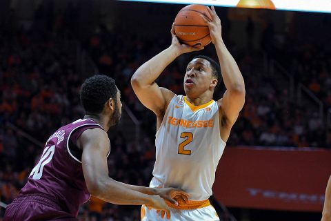 Tennessee Volunteers forward Grant Williams (2) shoots the ball against Texas A&M Aggies center Tonny Trocha-Morelos (10) during the first half at Thompson-Boling Arena. (Randy Sartin-USA TODAY Sports)